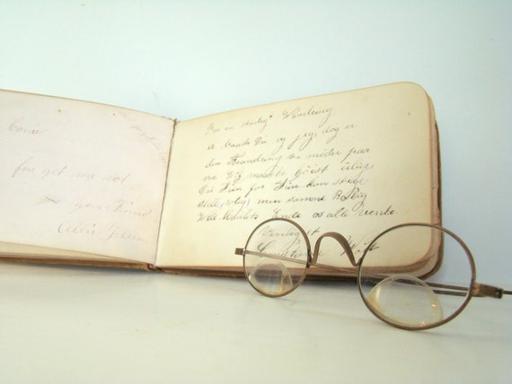 RESERVE for Lila Home Decor Display - Vintage Bifocal Eyewear and 1880s Teacher Student Autograph Book