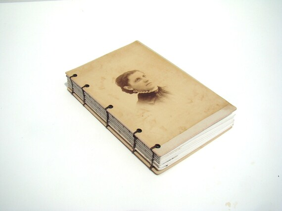 Journal, Antique Cabinet Card cover - Woman- Antique Letter detail