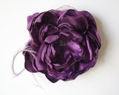 Purple Hair Flower - Bridal Hair Flower - Purple Fascinator Flower Hairpiece
