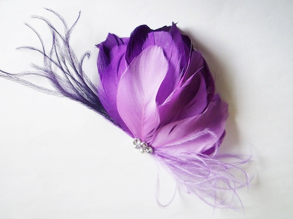 Bridal Feather Head Piece- Purple Ombre Feather Comb - Wedding Feather Fascinator