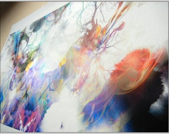Canvas Print 45.5 x22.5 cm - 'Mesmerize: Extended' - Abstract Organic Psychedelic visionary colourful trippy fantasy illustration.