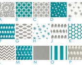 """Custom Cafe' Panels - Two (2) 25"""", 42"""" or 52"""" wide x 24"""" long -  You Pick the Fabrics - Teal Grey White"""