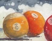"Pool Ball Trio - 6"" x 6"" Billiards Oil Painting"