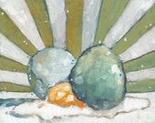 "Little Egg Cracked - 6"" x 6"" Contemporary Robin's Egg Oil Painting"