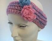 Medium Size Ladies or Girls Wool Ear Warmer, Headwrap, Headwarmer in Pink & Blue