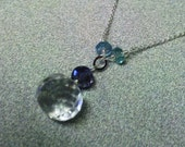 Italian Ice Rock Crystal Water Sapphire Lolite Sky Blue Apatite Sterling Silver Necklace