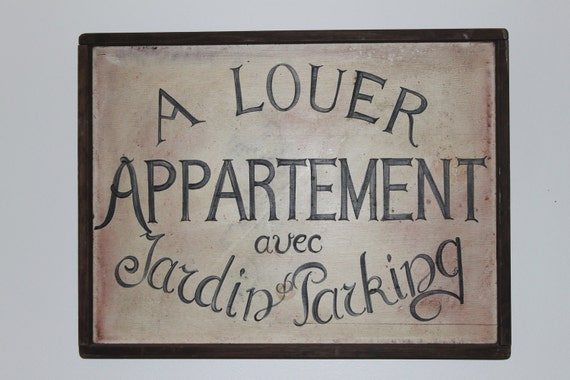 Vintage french sign hand painted on wood