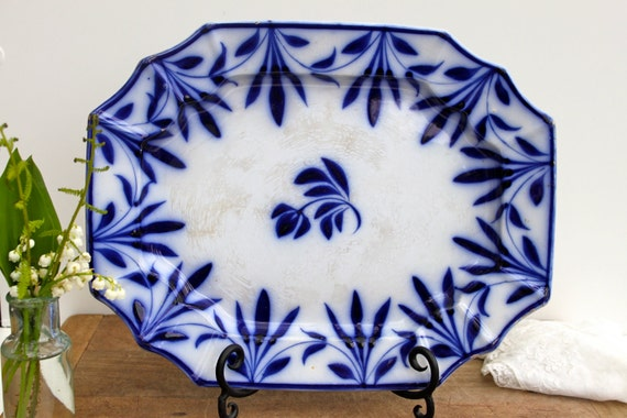 Antique flow blue ironstone platter - Reserved for Sara