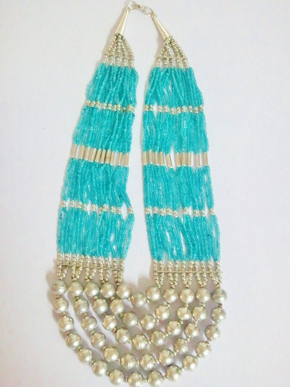 Blue - Green Beaded Multi strand necklace with metal balls