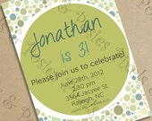 Custom Printable Party Invitation - Print Your Own Green Bubbles Invite Birthday Party