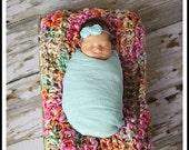 Aqua Newborn Wrap and Headband, Newborn Wrap Set, Photography Prop