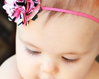 Baby girl headband, Hot pink and zebra mini flower, baby headband, baby flower headband