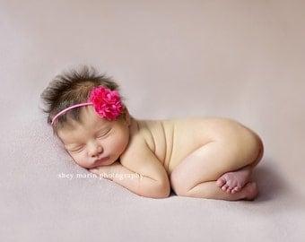 Newborn headband, pink flower, baby headband, baby flower headband, infant headband