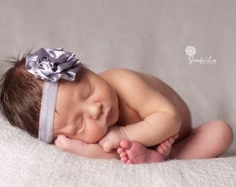 Baby flower headband - Newborn Headband - Silver headband - Infant Headband