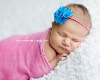 Blue flower headband - baby flower headband