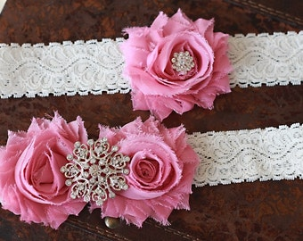 SALE!!! Wedding garter- Pink garter set, Bridal garter set, Toss Garter, Vintage garter set