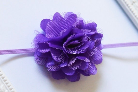 Purple flower headband - purple headband - purple mini flower headband