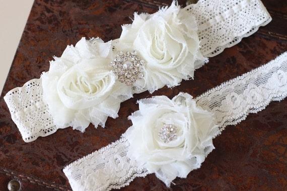SALE Wedding garter, Ivory garter set, Vintage bridal garter set
