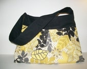 Yellow, Black, and Gray Leaves Pleated and Gusseted Purse/Shoulder Bag
