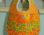 Baby Girl Patchwork - Piece Bib - absorbent w/ minky fleece backing - dribble/teething/drooling - Sunshine Summer