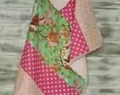 Plush Baby Girl Blanket Modern Quilt - w/ Soft Minky Fleece Backing - Birds of paradise - pink green cream brown