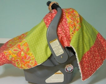"Baby Girl Car Seat ""COVER ME"" Canopy  Blanket - Modern Boutique Infant Tent Cover w/ Rings & Snap - Cozy Minky Fleece-  Melon Sorbet"