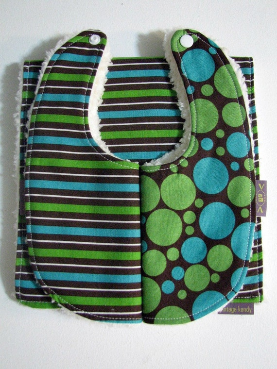 Baby Boy 2 BIBS & A BURP - Stripes and Dots Boutique Newborn Infant Baby Bibs and Burp Cloth Gift Set- Blue, Green, Brown