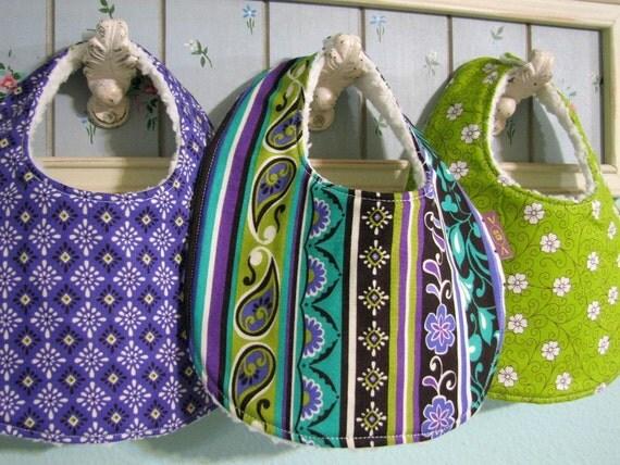 3 Baby Girl BIBS - Vera -  Boutique Newborn Infant Gift Set- Purple, Green, Teal