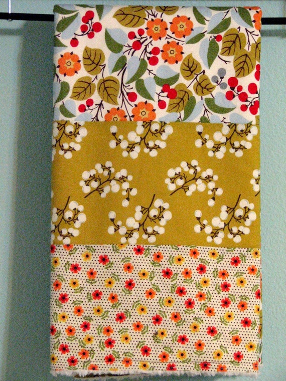 Baby Girl Modern Quilt/Blanket - the QUILANKET - Soft minky fleece backing (ready to ship)  - Jubilee - mustard, red, brown