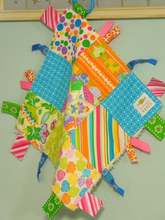 "Baby Girl Ribbon Blanket Tag Lovey ""RIBbee"" Boutique Patchwork Sensory Taggie Toy - Soft Minky Fleece Backing  - Ready 2 Ship"