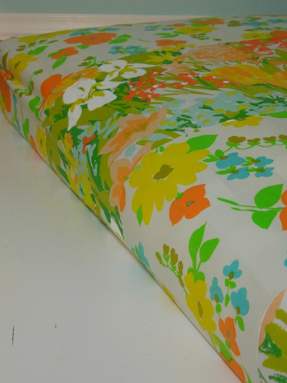 Baby Girl Patchwork Fitted Crib Sheet - Bumperless Bedding by Vintage Kandy - Ready 2 Ship - Vintage Flowers - Peach, Teal, Yellow