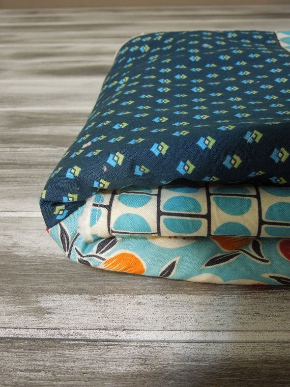 Baby Boy Modern Quilt/Blanket - the QUILANKET - Soft minky fleece backing (ready to ship)  - Lil Boy BLue - Blue Red Cream