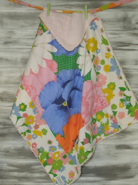 Boutique Baby Blanket Soft and Fluffy - Vintage Kandy Vintage Sheet Blanket - Flower Power