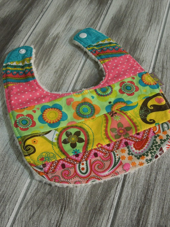 Baby Girl Modern Patchwork - Piece Bib - absorbent w/ minky fleece backing - dribble/teething/drooling - Boho Baby