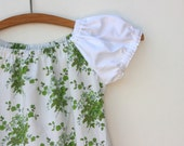 White and green flower peasant dress with waist ties and vintage doily - size 3-4