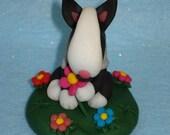 English Bull Terrier - Handmade ornament - bullie with flowers (any bullie colour available)