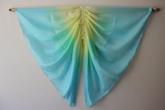 Butterfly Wings, Blue, Green and Yellow, Silk Fairy Wings, Kids Dress Up Costume