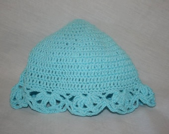 Blue Crocheted 100% Cotton Beanie for 6-12 months