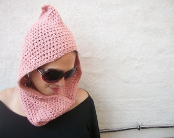The Elf-Hooded Cowl made from ORGANIC COTTON yarn