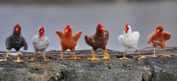 Needle Felted Chicken Sculptures, Rhode Island Reds
