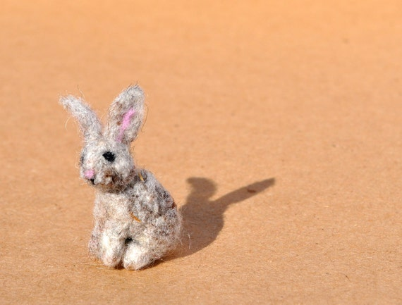 Needle Felted Bunny Rabbit Sculpture miniature (Free Shipping to USA)