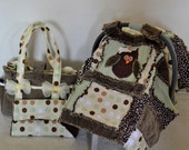 Matching Ultimate Diaper bag, diaper clutch with changing pad, and carseat cover.