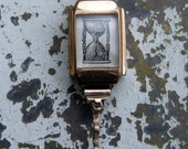 Sands of time gold watch pendant, upcycled vintage watch on a fine vintage chain