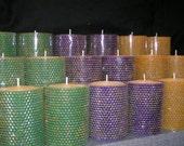 Mardi Gras Solid beeswax pillars (set of 3)