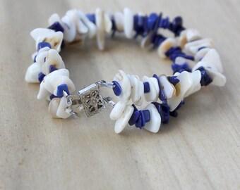 Lapis lazuli mother of pearl bracelet, blue and white bracelet, chunky bracelet