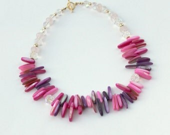 Pink and purple shell necklace with rose quartz and glass beads, statement necklace, fringe necklace, pink necklace, purple necklace, ooak
