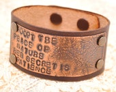 Copper and Leather Bracelet Etched Stamped Cuff Emerson Nature Quote