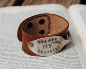 Spoon Bracelet Hand stamped Distressed Light Brown Leather Bracelet Cuff You are my Sunshine