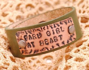 Farm girl bracelet, leather bracelet, bracelet cuff, farm girl at heart, Hand Stamped jewelry, leather and copper bracelet, personalized