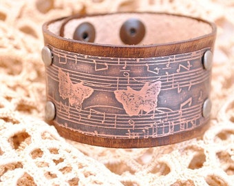 Bracelet Etched Copper Cuff Music and Butterflies Distressed Brown Leather
